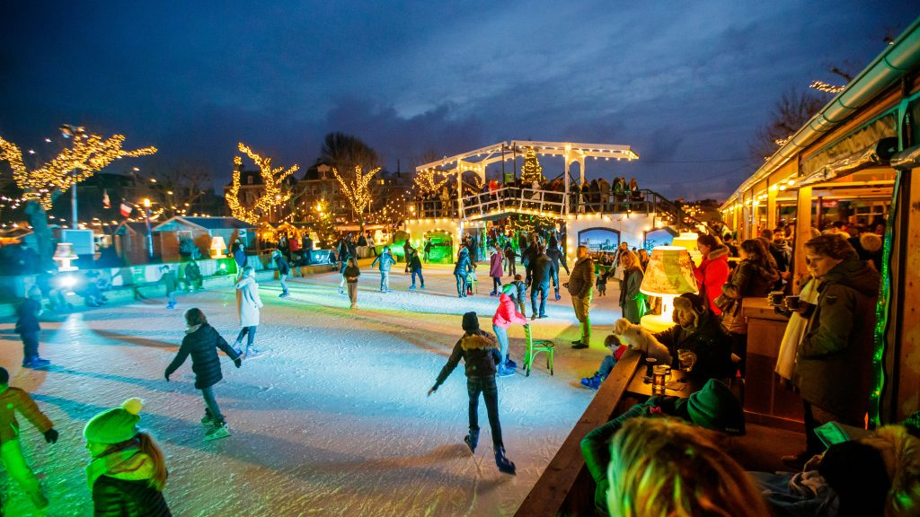 Ice Skating on Museumplein at ICE Amsterdam.