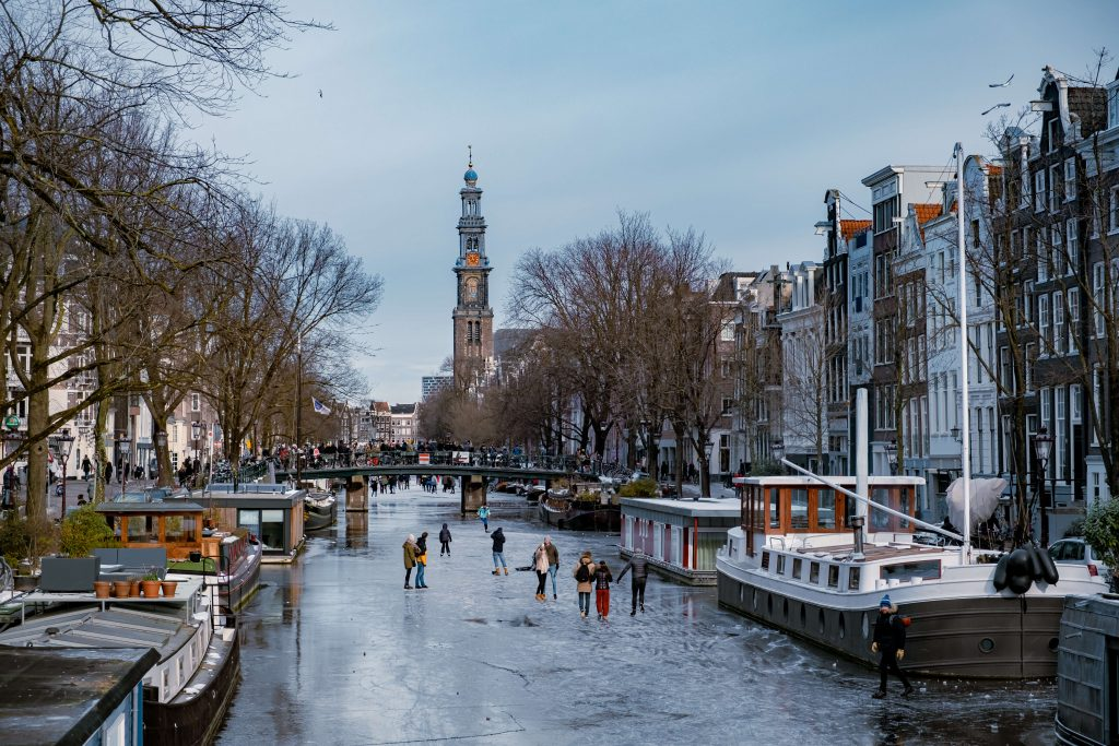 Skating on the Amsterdam canals